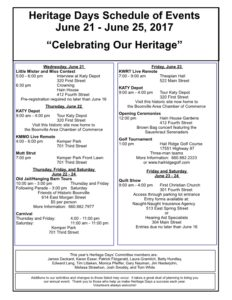 2017 Heritage Days Schedule of Events June 21 to June 25 2017 Celebrating Our Heritage Boonville Chamber of Commerce Missouri1