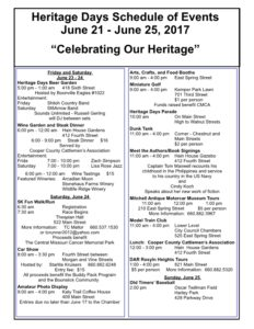 2017 Heritage Days Schedule of Events June 21 to June 25 2017 Celebrating Our Heritage Boonville Chamber of Commerce Missouri2