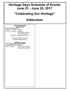 2017 Heritage Days Schedule of Events June 21 to June 25 2017 Celebrating Our Heritage Boonville Chamber of Commerce Missouri3